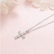 """Andrea"" Diamond Cross Petite Pendant Necklace in 14 White Gold - FANCI ME"