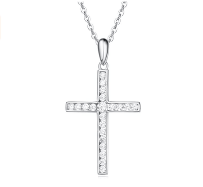 "14K White Gold Cross Pendant With Cubic Zirconia Necklace, 18"" Chain - FANCI ME"