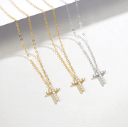 """White Delight"" Diamond Prong Setting Cross Pendent Necklace In 14K White Gold - FANCI ME"