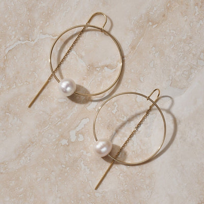 "LUNA ""GRAVITY"" GOLD HOOP EARRING - FANCI ME"