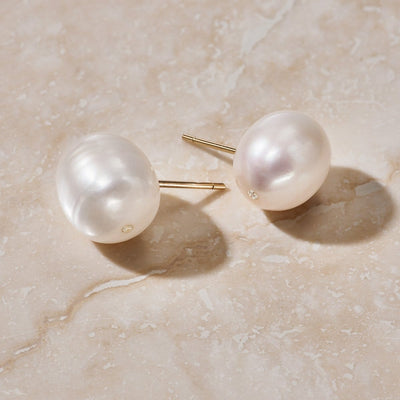 Luna Pearl & Diamond Stud Earring - FANCI ME