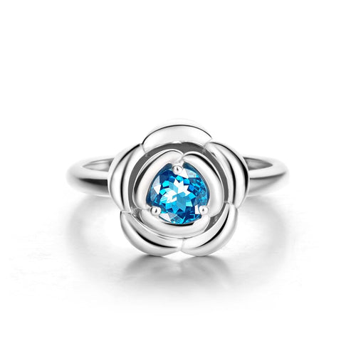 Blue Romance Rose Ring with Blue Topaz
