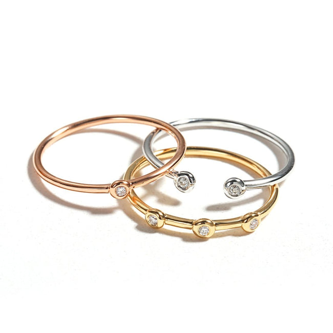 Line&Dots White Gold Stackable Rings