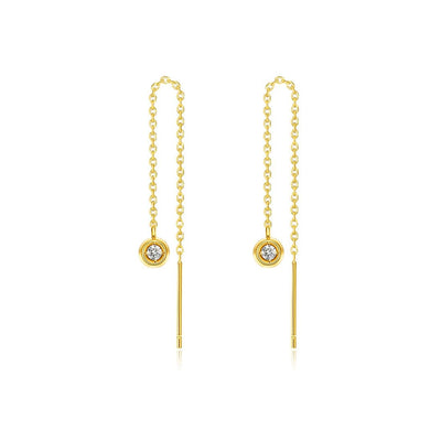 Line&Dots Gold Chain Diamond Earrings - FANCI ME