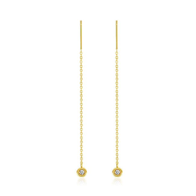 Line&Dots Gold Chain Diamond Earrings