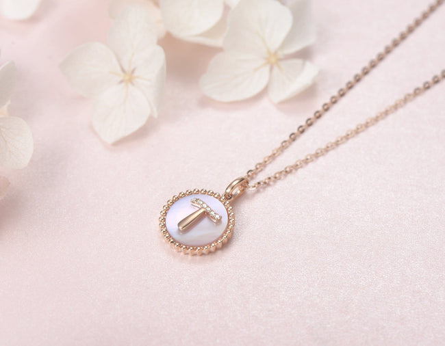 """T"" Solid 14K Rose Gold Initial Dainty Pendant Necklace"