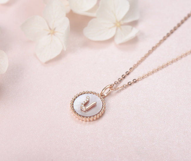 """U"" Solid 14K Rose Gold Initial Dainty Pendant Necklace"