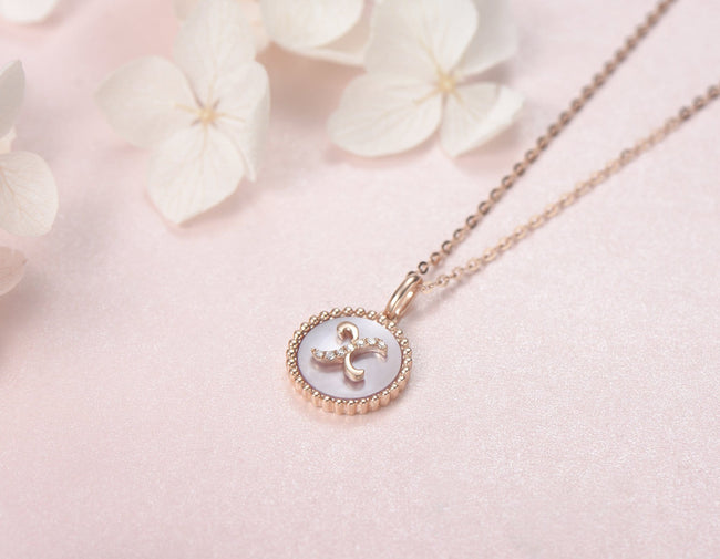 """X"" Solid 14K Rose Gold Initial Dainty Pendant Necklace"