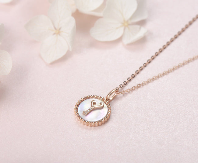 """Y"" Solid 14K Rose Gold Initial Dainty Pendant Necklace"