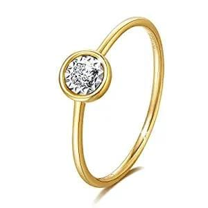 Line & Dots 18K Yellow Gold Solitaire Diamond Ring - FANCI ME