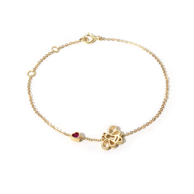 Solid Yellow Gold Minimalist Dainty Bee Bracelet - FANCI ME
