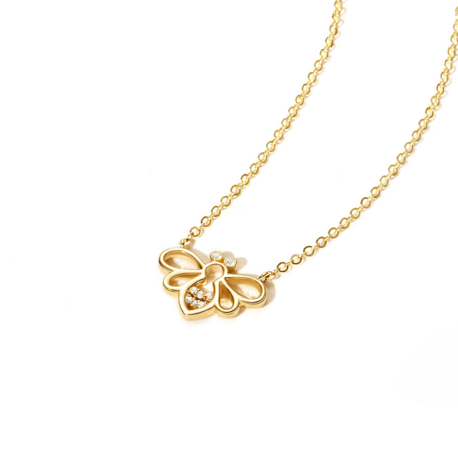 Minimalist Dainty Bee Yellow Gold Pendant Necklace
