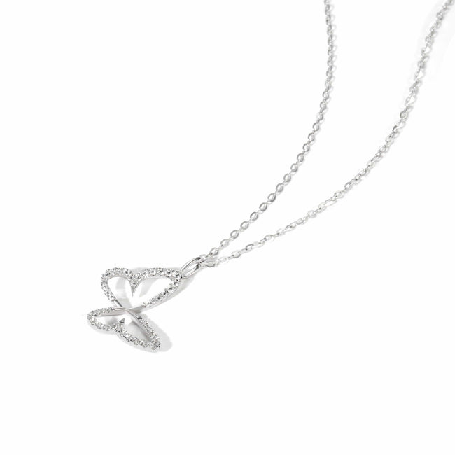 Flying Butterfly Dainty Pendant Necklace