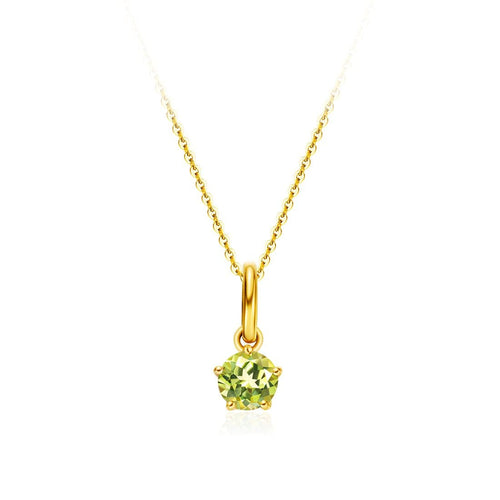 Delicate August Birthstone Peridot Gold Necklace