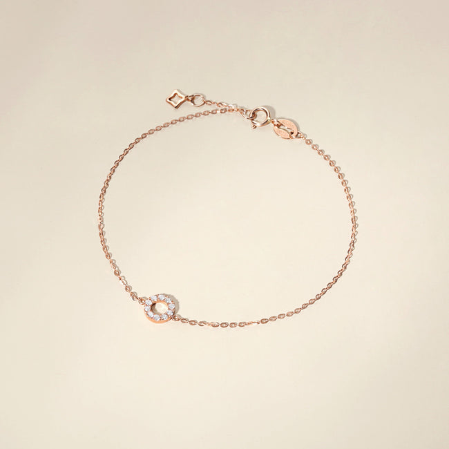 Solid Rose Gold Open Circle Diamond Minimalist Dainty Bracelet