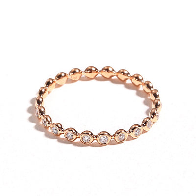 Line&Dots Pink Gold Beaded Ring - FANCI ME