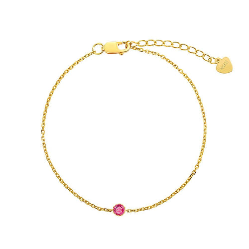 Delicate July Birthstone Ruby Bracelet