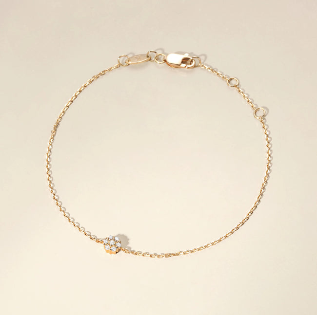 Solid Yellow Gold Minimalist Dainty Round Floral Pave Diamond Bracelet