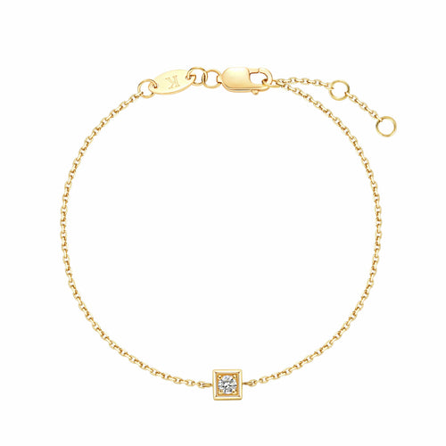 18k Solid Yellow Gold Guardian Minimalist Single Diamond Dainty Bracelet - FANCI ME