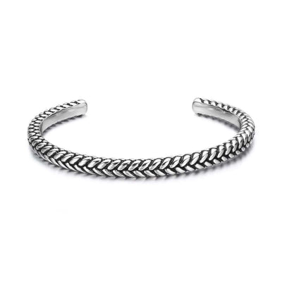 INTREPIDITY 925 Sterling Silver Mens Polished Open Cuff Bracelet - FANCI ME