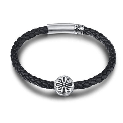 POWER 925 Sterling Silver Mens Leather Bracelet - Black - FANCI ME