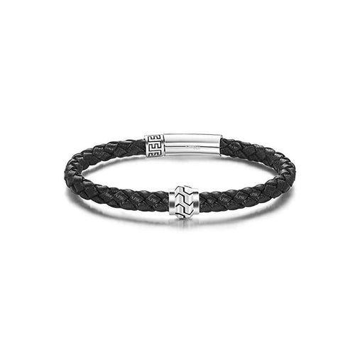 PATH 925 Sterling Silver Mens Leather Bracelet - Black - FANCI ME