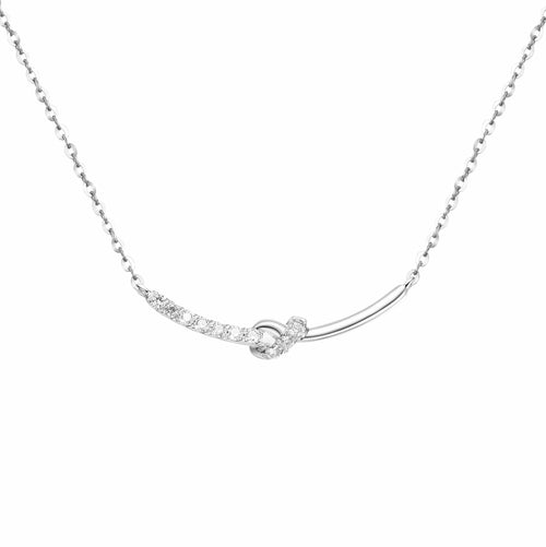 """Knot Significantly"" 18K White Gold Bar Necklace - FANCI ME"