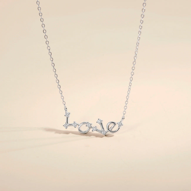 Constellation Love Letter Pendant Necklaces 14k White Gold