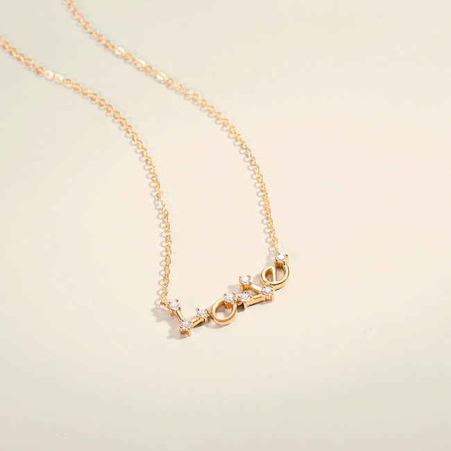 Constellation Love Letter Pendant Necklaces 14k Yellow Gold