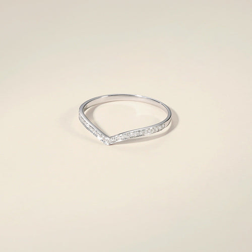 18K Solid White Gold Paved Didamond Ring Channel Setting Wedding Band