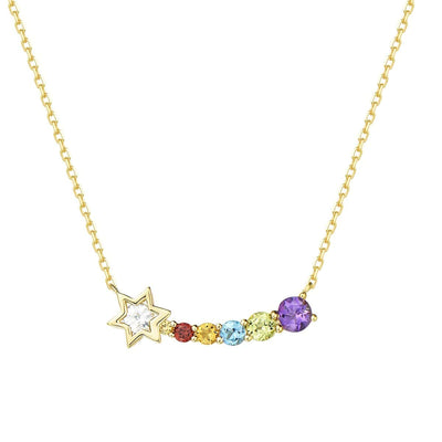 """Shooting Star"" 14K Multi Colored Gemstone Bar Necklace - FANCI ME"