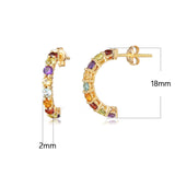 FANCIME 18k Solid Yellow Gold Rainbow Multicolor Gemstones Peridot/Citrine/Sapphire/Garnet/Topaz/Amethyst Half Hoop Earrings