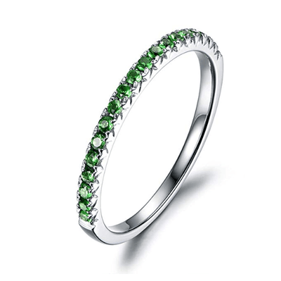 Line & Dots 14K Solid White Gold Semi Eternity Green Tsaverite Sapphire Wedding Band - FANCI ME