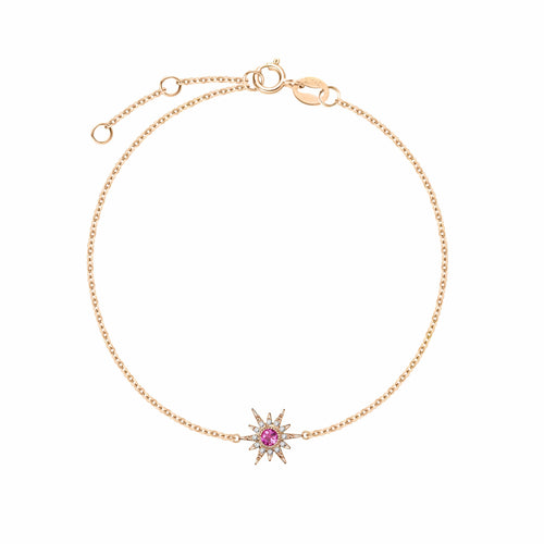 """Pink Burst"" 18K Rose Gold Pink Tourmaline Star Bracelet - FANCI ME"