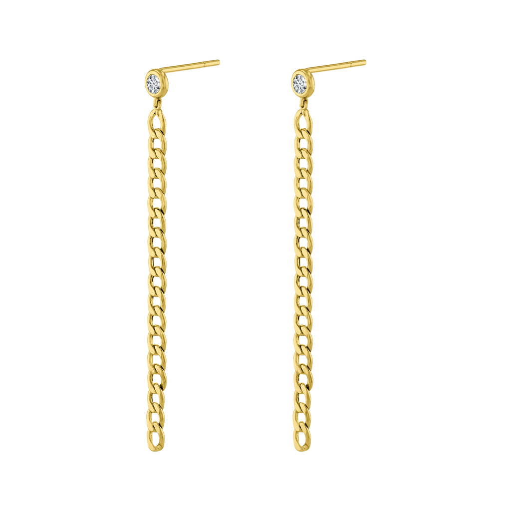 Sparkle Thin Chain Reaction Earrings.