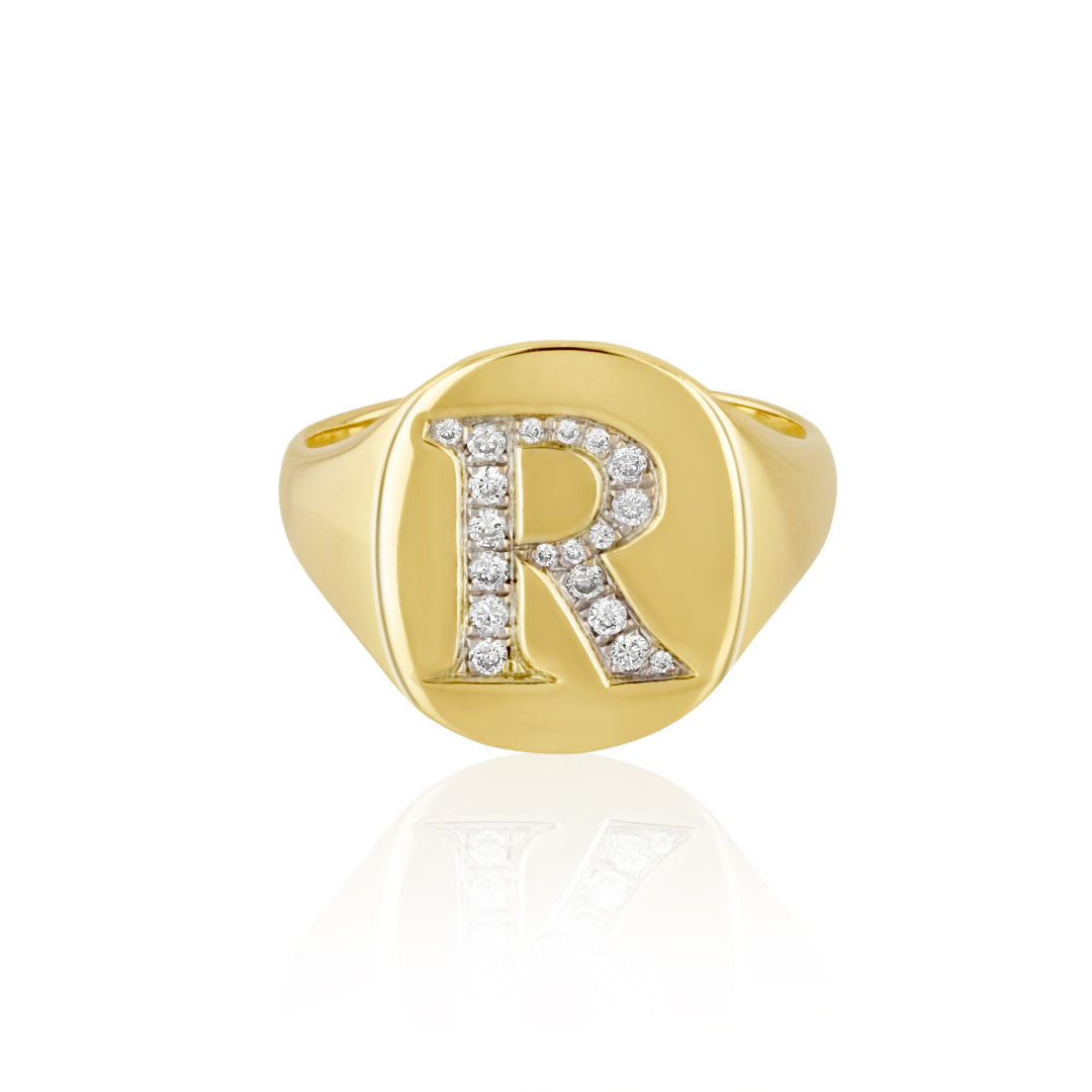 Coin Ring with Diamonds