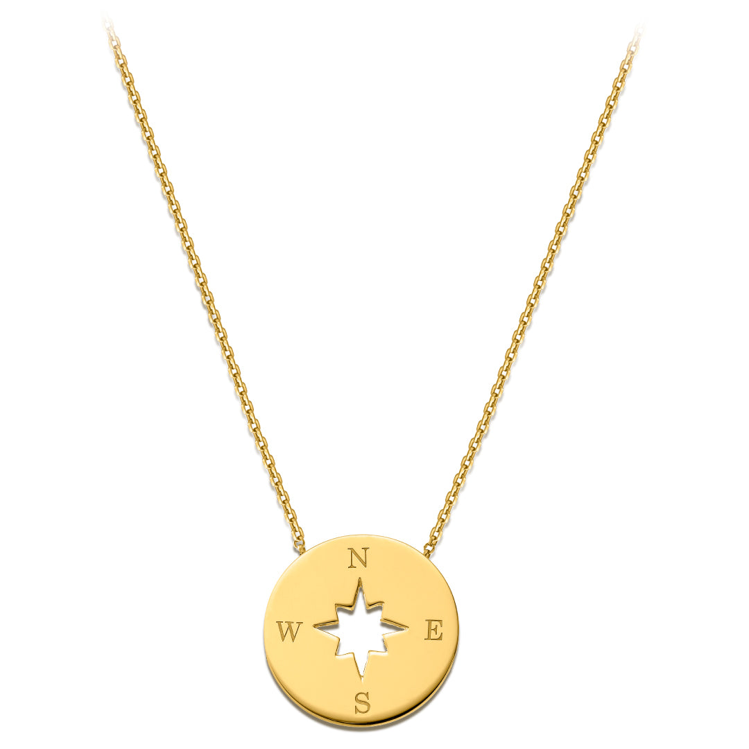 Compass Necklace with diamond border