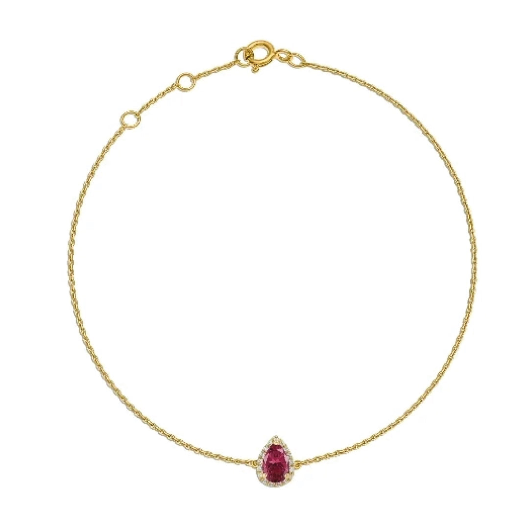 Pear Ruby with Diamonds Bracelet