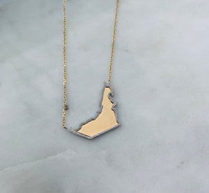 Map with hammered Outline Necklace