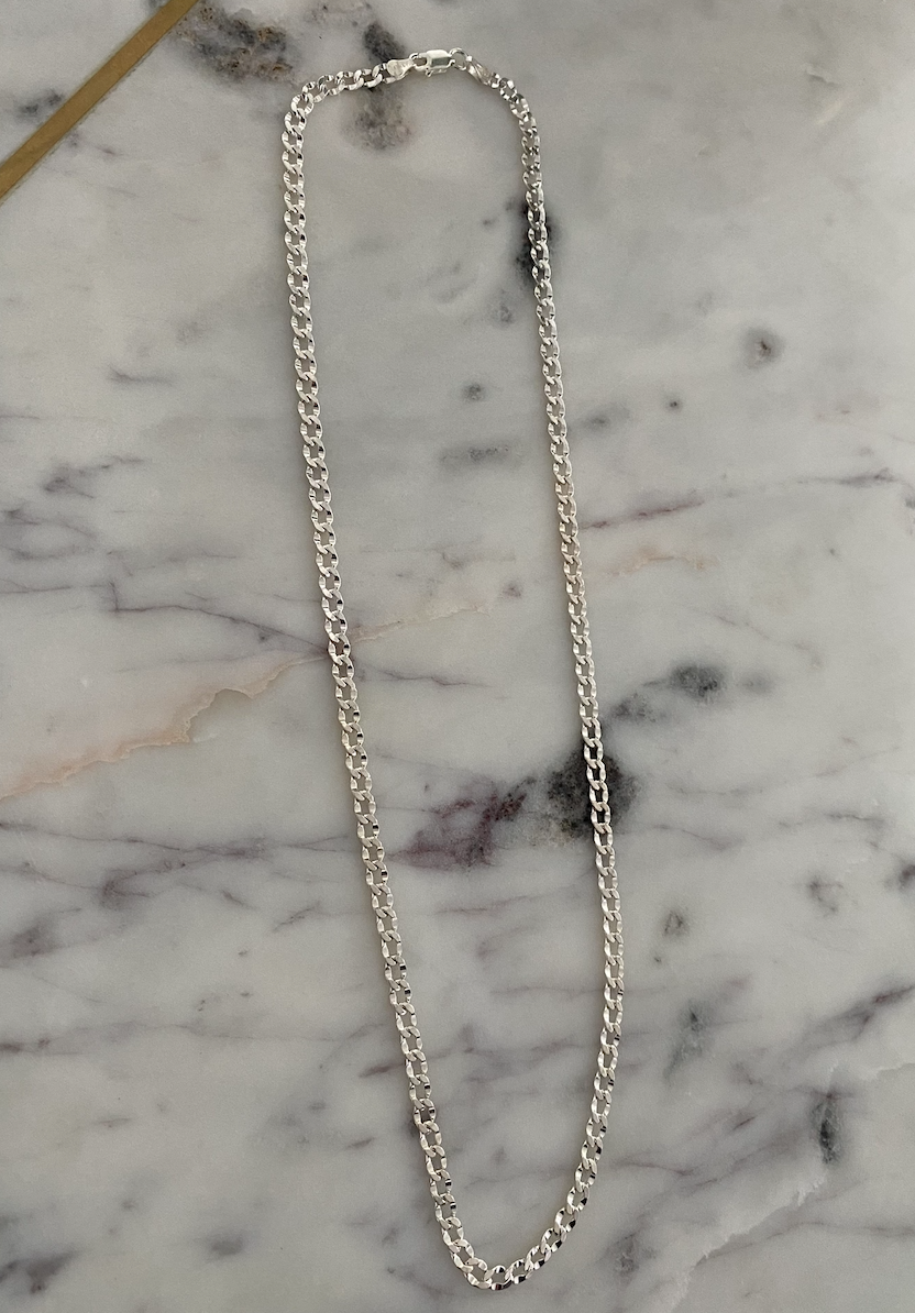 Thin Hammered Cuban Silver Chain