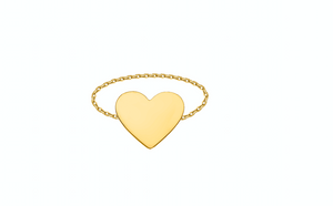 Gold Heart Chain Ring