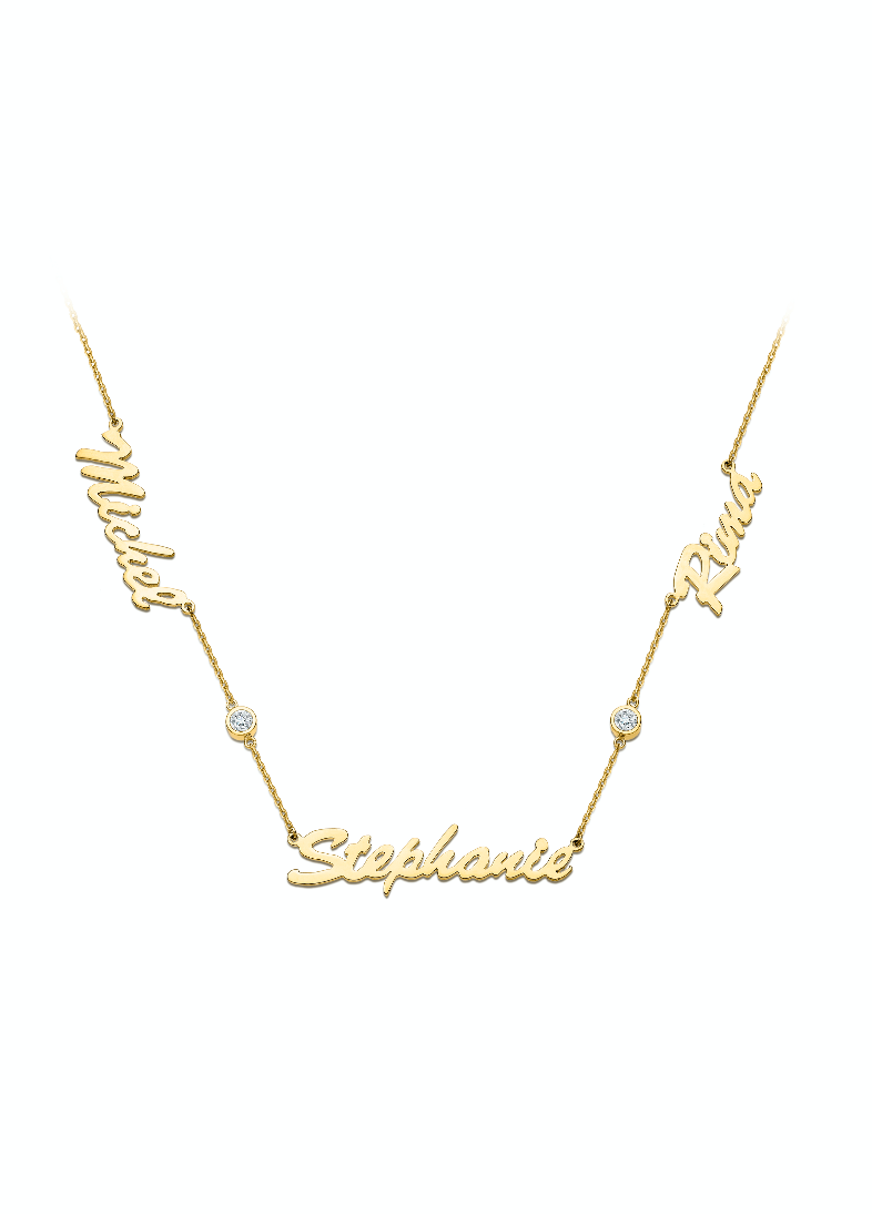 Three Names Necklace with 2 Diamonds in between