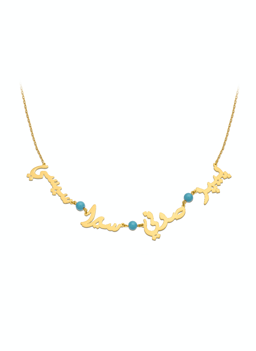 Four Names Necklace with turquoise
