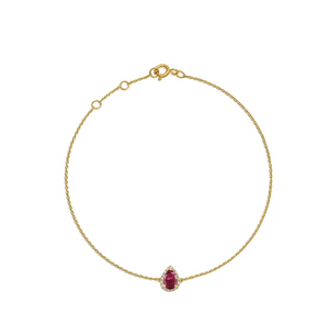 Pear Ruby with Diamonds Bracelet.