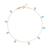 Turquoise  Droplets Anklet