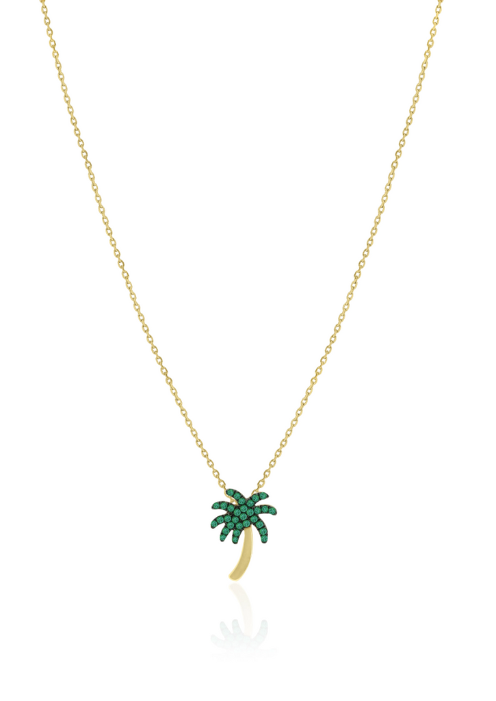 Palm Tree Necklace with Emeralds