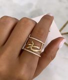 Names ring with Diamond bands