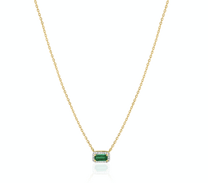 Emerald Baguette Diamond Necklace