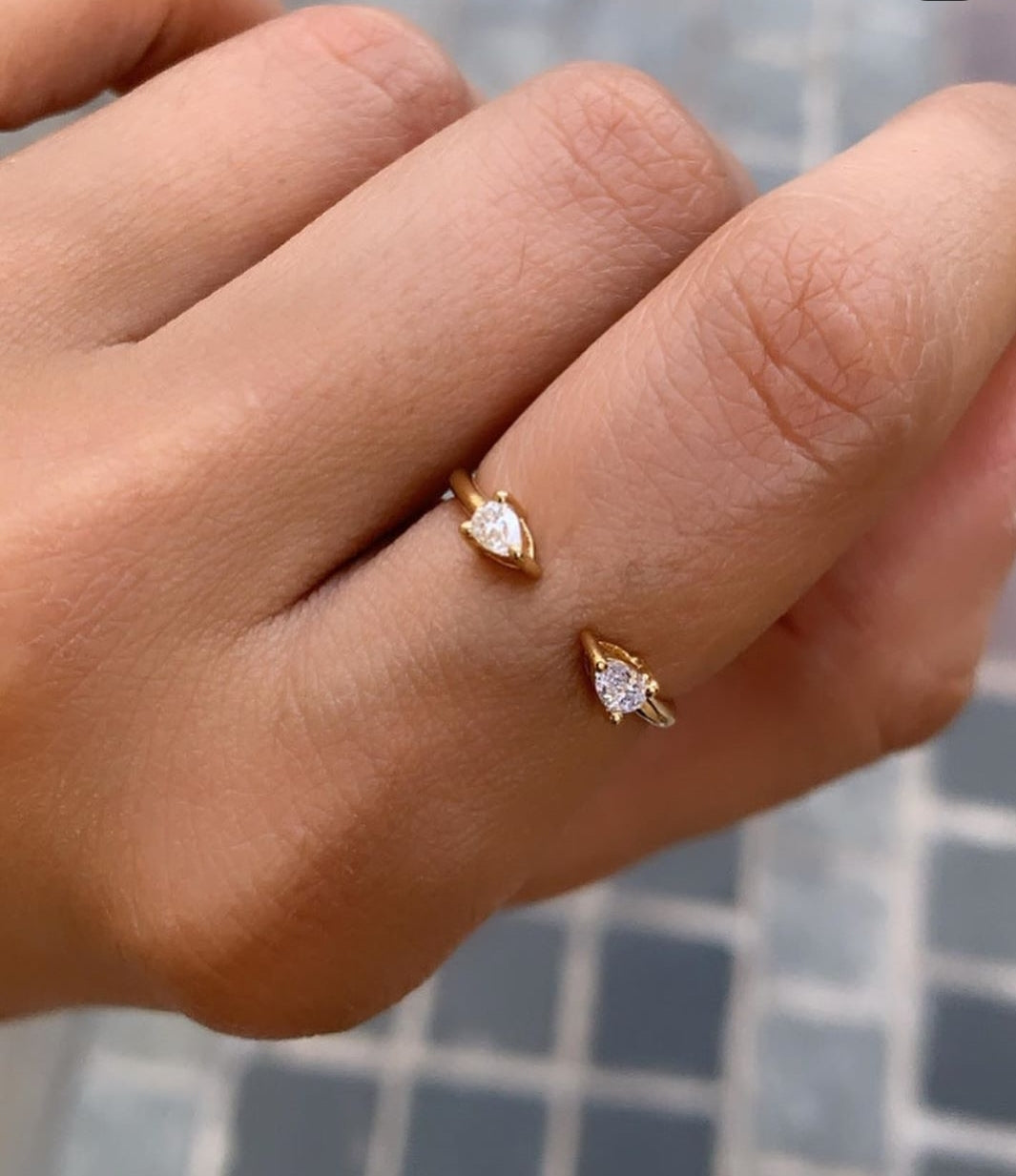 Double Pear Diamond Ring