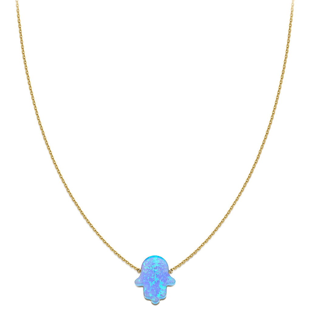 Something blue - Hand of Fatima Necklace